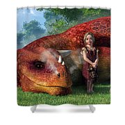 A Little Girl And Her Dragon Shower Curtain