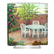 A Little Spring Patio  Shower Curtain