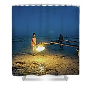 A Local Fisherman Uses Flame To Repair His Boat At Sunset Shower Curtain