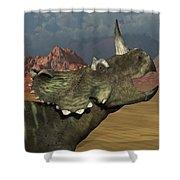 A Lone Centrosaurus Dinosaur Calling Shower Curtain