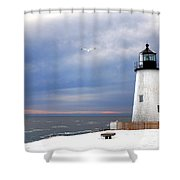 A Lonely Seagull Was Flying Over The Pemaquid Point Lighthouse Shower Curtain