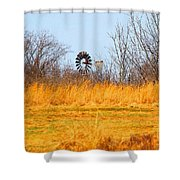 A Lonely Windmill Shower Curtain