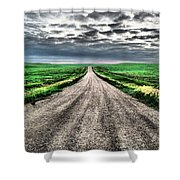 A Long Dakota Road Shower Curtain