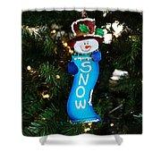 A Long Snow Ornament- Horizontal Shower Curtain