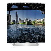 A Look At The Chicago Skyline From Under The Roosevelt Road Bridge  Shower Curtain