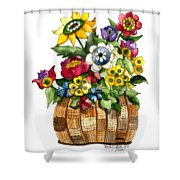 A Lovely Basket Of Flowers Shower Curtain