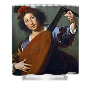 A Lute-player Shower Curtain