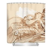 A Maiden Embraced By A Knight In Armor Shower Curtain