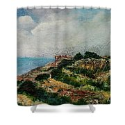 A Maltese Country Landscape Shower Curtain