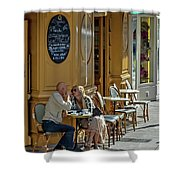A Man A Woman A French Cafe Shower Curtain by Allen Sheffield