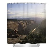 A Man Admires The Sunset From A Canyon Shower Curtain