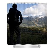 A Man Admires The View Over The Valley Shower Curtain