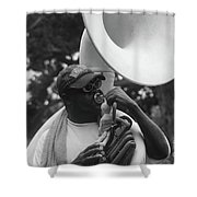 A Man Blows His Horn Shower Curtain