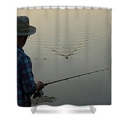 A Man Fishes For Largemouth Bass Shower Curtain