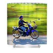Heading To Work In Rural Thailand. Shower Curtain