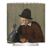 A Man Holding A Tankard And A Glass Shower Curtain