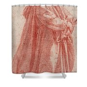 A Man Standing To Right Shower Curtain