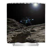 A Manned Asteroid Lander Approaches Shower Curtain