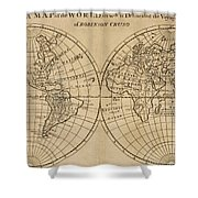 A Map Of The World With The Voyage Of Robinson Crusoe Shower Curtain