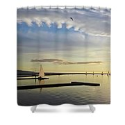 A Marine Lake At Dusk, West Kirby Shower Curtain
