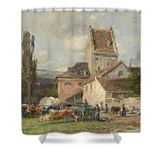 A Market Scene Shower Curtain