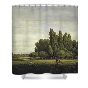 A Meadow Bordered By Trees Shower Curtain