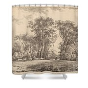 A Meadow With Cattle At The Edge Of A Wood Shower Curtain