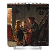 A Meal. Two Boys And A Grandmother Tasting The Potato Soup Shower Curtain