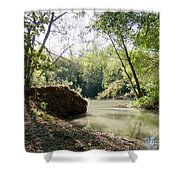 A Medina River Morning Shower Curtain