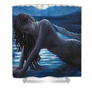 A Mermaid In The Moonlight - Love Is Mystery Shower Curtain by Marco Busoni