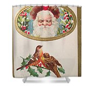 A Merry Christmas From Santa Claus Vintage Greeting Card With Robins Shower Curtain