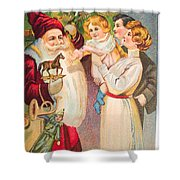 A Merry Christmas Vintage Card Santa And A Family Shower Curtain