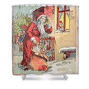 A Merry Christmas Vintage Greetings From Santa Claus And His Gifts Shower Curtain