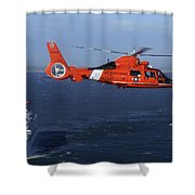 A Mh-65c Dolphin Helicopter Shower Curtain