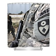 A Military Police Officer Provides Shower Curtain by Stocktrek Images