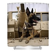 A Military Working Dog Sits On A U.s Shower Curtain