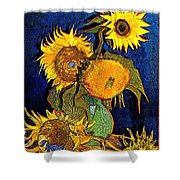 A Modern Look At Vincent's Vase With 5 Sunflowers Shower Curtain