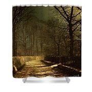A Moonlit Lane Shower Curtain