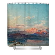 A Mountain Lake At Sunset Shower Curtain