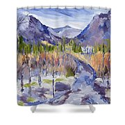 A Mountain Road Shower Curtain