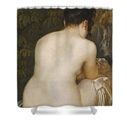 A Naked Woman Seen From Behind Shower Curtain
