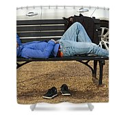 A Nap In The Park Shower Curtain