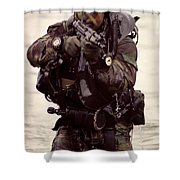 A Navy Seal Exits The Water Armed Shower Curtain