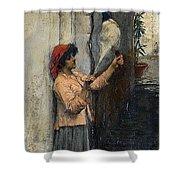 A Neapolitan Flax Spinner John William Waterhouse Shower Curtain