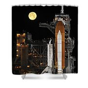 A Nearly Full Moon Sets As Space Shower Curtain by Stocktrek Images
