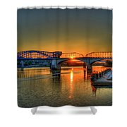 A New Day Chattanooga Sunrise Market Street Bridge Shower Curtain