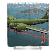A New Kind Of Bird Over California - Oil Shower Curtain