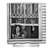 A New Orleans Greeting 2 Bw Shower Curtain