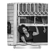 A New Orleans Greeting Bw Shower Curtain