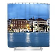 A Night View Of Split Old Town Waterfront In Croatia Shower Curtain